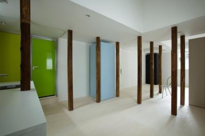 柱を風景として捉える2(撮影:鳥村鋼一) (wooden forest apartement)