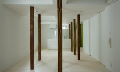 wooden forest apartement (柱を風景として捉える3(撮影:鳥村鋼一))
