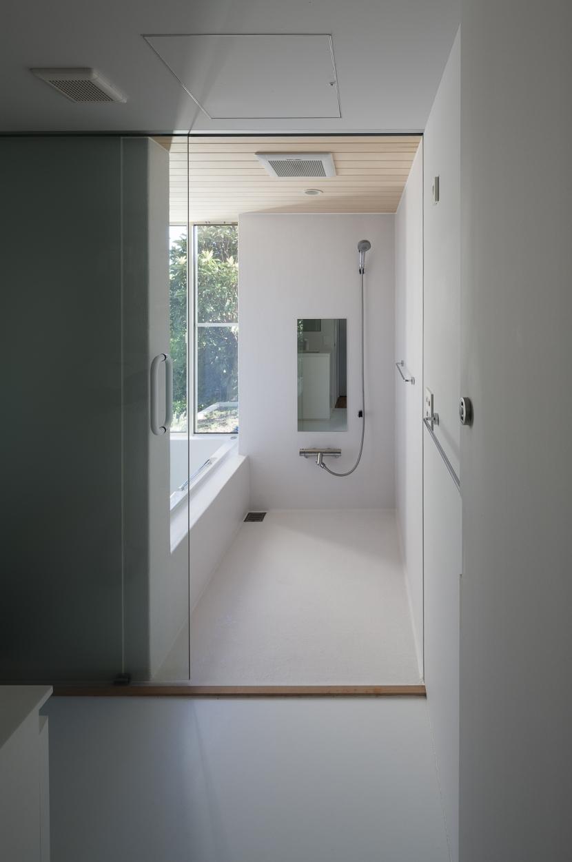 風景を通す家の写真 浴室
