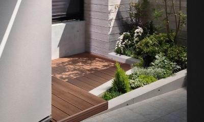 黒の焼杉と大開口が象徴的な2世帯住宅|桜川の家 (玄関ポーチ脇の親世帯の前庭)