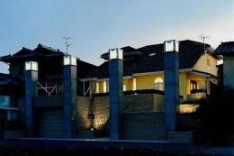 コンクリート構造の住宅設計 (外観(夜間))