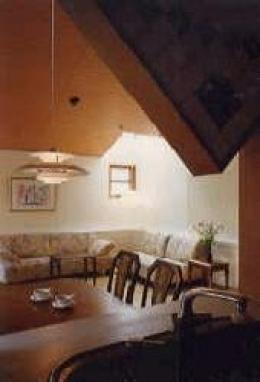 吹き抜けの居間を持つ家 (キッチンから眺めるリビング(撮影: 堀内広治))