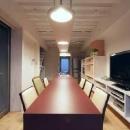 大きなテーブルのある居住空間