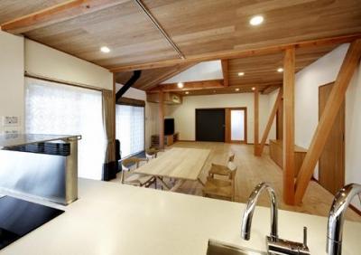 浜寺公園の家 (キッチンからリビングを眺める)