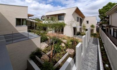 NAG-house  スキップフロアーの家 (中庭と玄関アプローチ)
