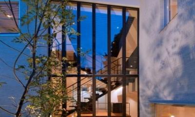 NAG-house  スキップフロアーの家 (中庭からダイニングを見る)