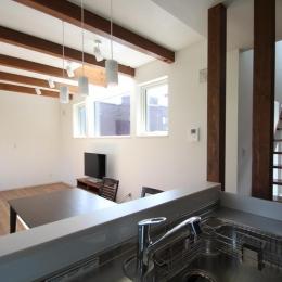 キッチンから見たリビングダイニング(撮影:hiroyuki ohtani) (Nさんの家)