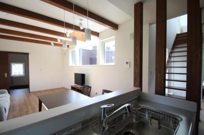 Nさんの家 (キッチンから見たリビングダイニング(撮影:hiroyuki ohtani))