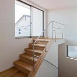 テラスへ出る階段 (平屋のコートハウス)