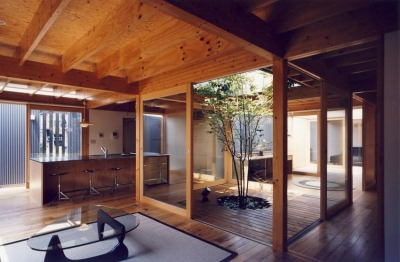 I HOUSE (木造平屋) (中庭)