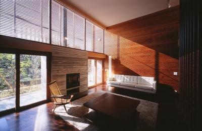 木ルーバーの家 (居間)