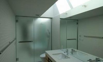木ルーバーの家 (浴室)