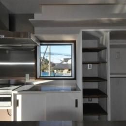 煙突を持つ五角形の家 (収納いっぱいキッチンスペース)