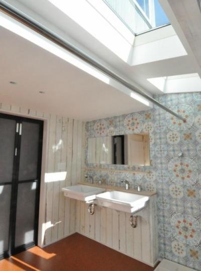 洗面所スペース (煙突を持つ五角形の家)