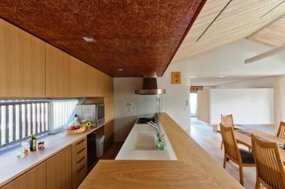 キッチン (大きな船底天井のある家)