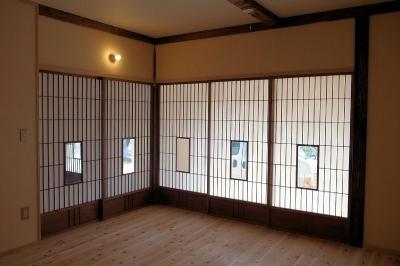 寝室障子 (築100年の古民家再生)
