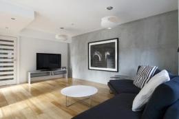 白を基調としたシンプルクールな家 (モノクロなリビングルーム)