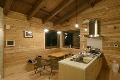 薪ストーブのある別荘 (北欧風キッチン)