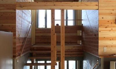 薪ストーブのある別荘 (スキップフロアの階段)