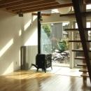 Bookshelfの写真 薪ストーブのある土間