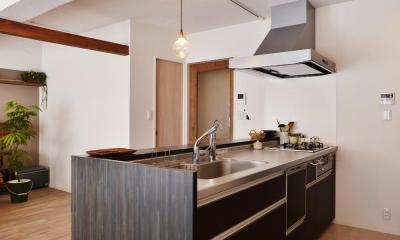 O邸・間取りを再構築!デッドスペースを活用した開放的な住まい (キッチン)