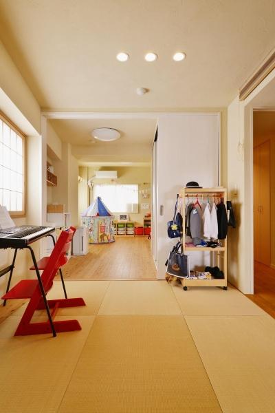 リビングから子供部屋までひとつなぎの空間 (鎌倉市I様邸 ~こだわりの間取り・素材・色で作る子育て住まい~)
