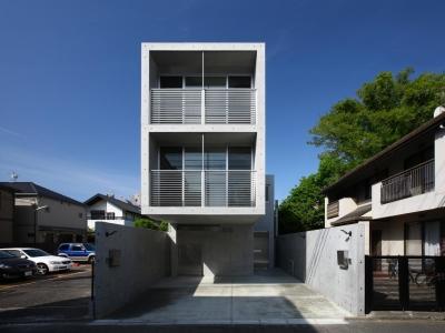 通りの往来からのプライバシーを確保するピロティ空間 (南烏山の二世帯住宅)