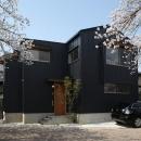 桜並木を眺める小さな家