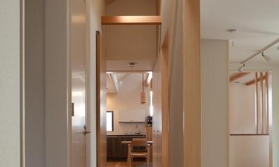 黒の焼杉と大開口が象徴的な2世帯住宅|桜川の家 (上から光が降り注ぐ中廊下)