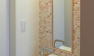 住宅密集地で陽光の恵みを受けるRC住宅|つばさの家 (玄関ホール脇にある手洗い)