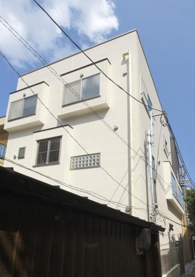 間之町の家 (外観 小さめの窓が並ぶ)