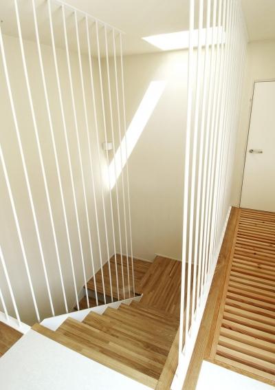 間之町の家 (明るい階段)