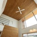 趣味を楽しむ土間の家の写真 リビング天井のシーリングファン
