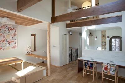 fikaをたのしむ、北欧スタイルの家 (勾配天井が気持ち良いLDK)