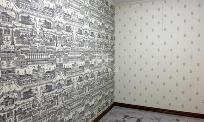 上質なファブリックスと壁紙でイメージチェンジ (寝室横の書斎)