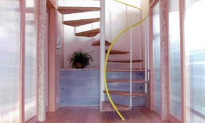 家族のびのび大空間:自然素材の家 (玄関を彩る らせん階段)