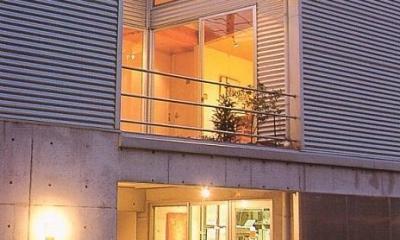 三角地で開放的に暮らす家|K HOUSE (外観|東側エントランス)