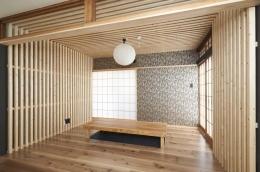 木格子で叶える、温もりとモダンデザインの融合 (リビング2)