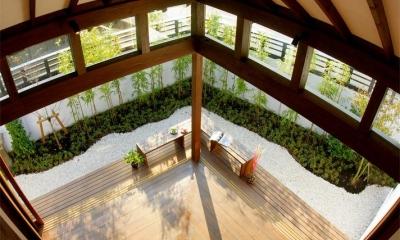 大屋根の家 (リビングと庭-open1)