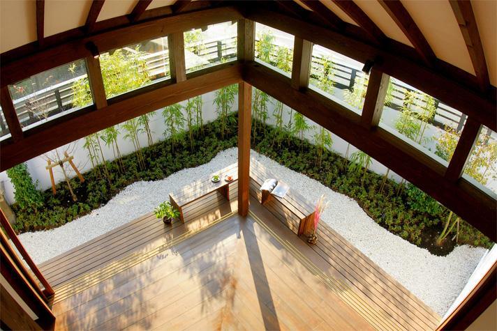 大屋根の家の部屋 リビングと庭-open1