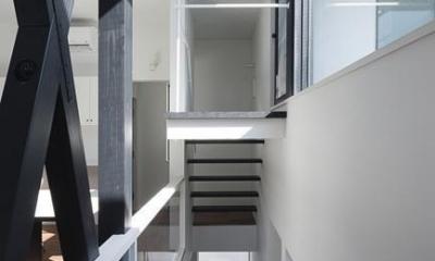 ハコノオウチ06・屋上バルコニーのある家 (デザインされた階段)