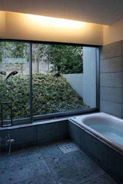 光をとりこむ浴室 (壁層の家)
