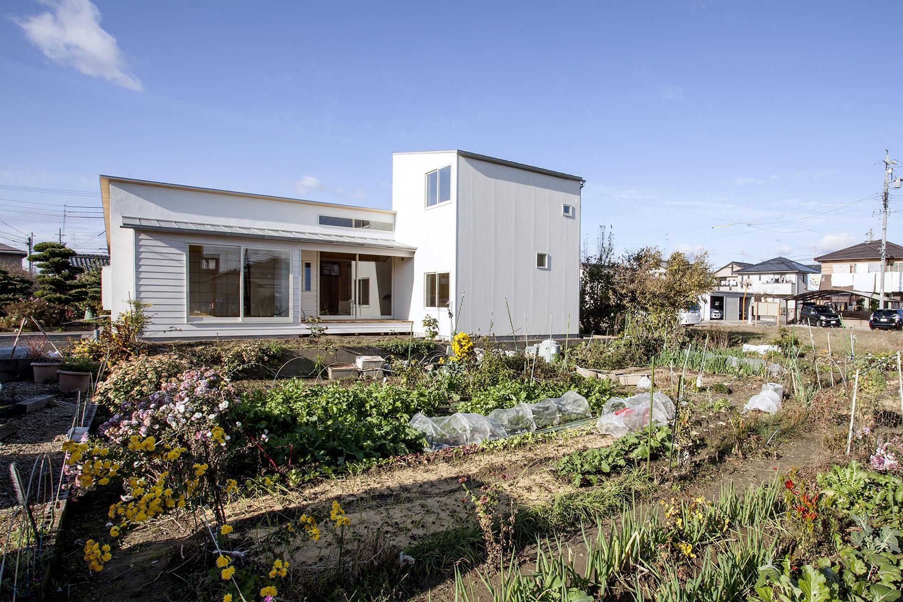 江南の住宅の写真 白い外観-背面