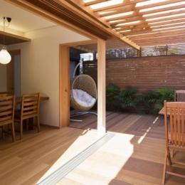 嵯峨の家-1 (リビングと一繋がりのテラス1(撮影:母倉知樹))