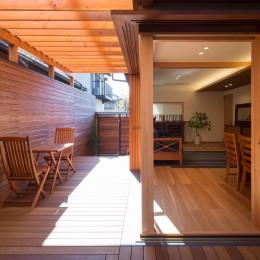 嵯峨の家/半屋外のテラスと一体化したリビング・ダイニングのリノベーション (隣家の視線をさえぎるアウトドアリビングの木製ルーバー)