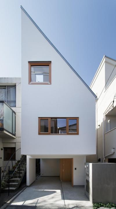 スキップフロアがつくる快適空間 (白金の家) (三角形の正面ファサード)