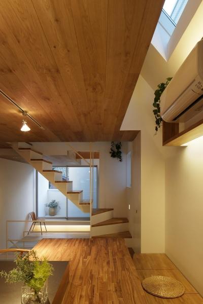 ダイニングより階段越しにリビングを見る (スキップフロアがつくる快適空間 (白金の家))