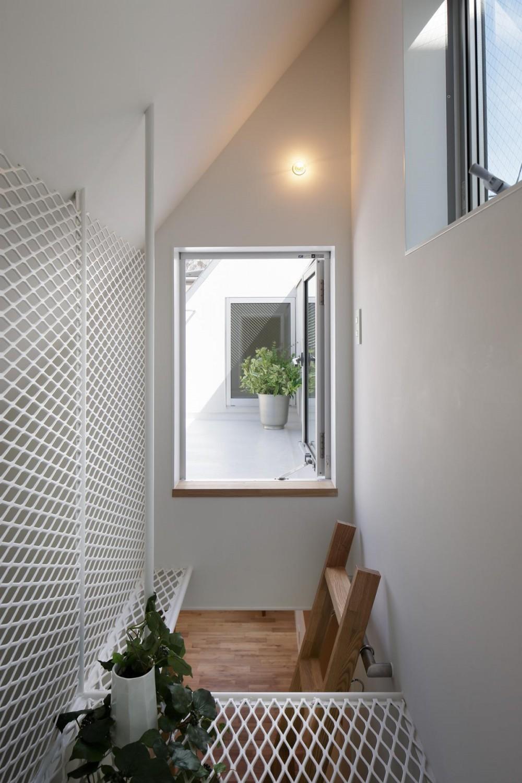 スキップフロアがつくる快適空間 (白金の家) (キャットウォークよりルーフテラスを見る)