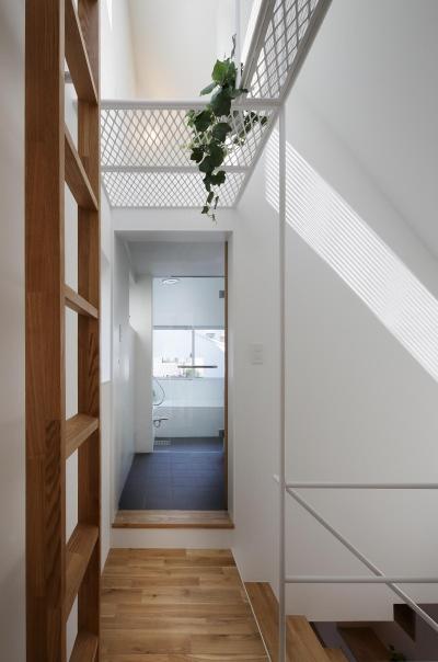 キャットウォーク下より洗面・浴室を見る (スキップフロアがつくる快適空間 (白金の家))