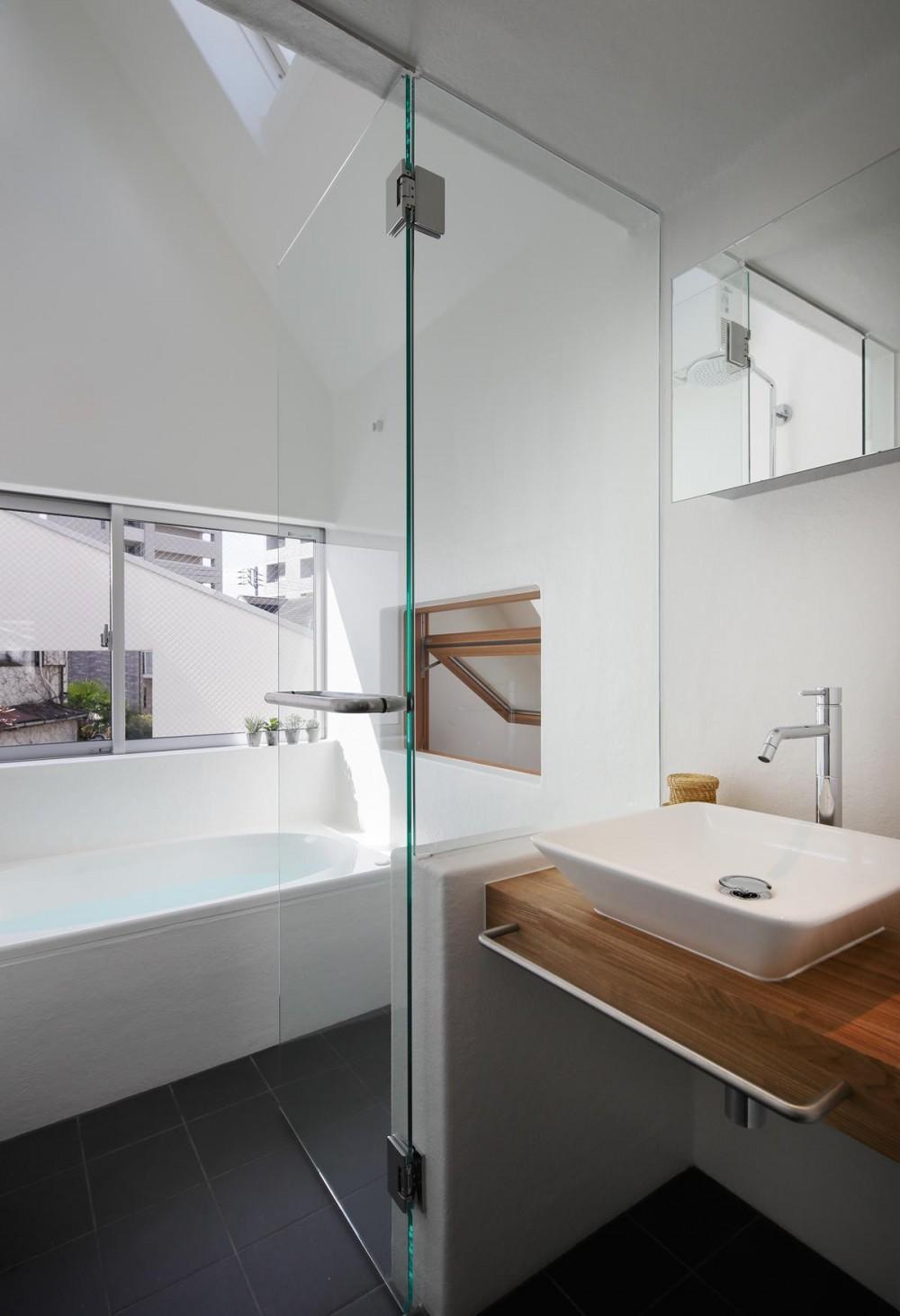 スキップフロアがつくる快適空間 (白金の家) (洗面室より浴室を見る。)